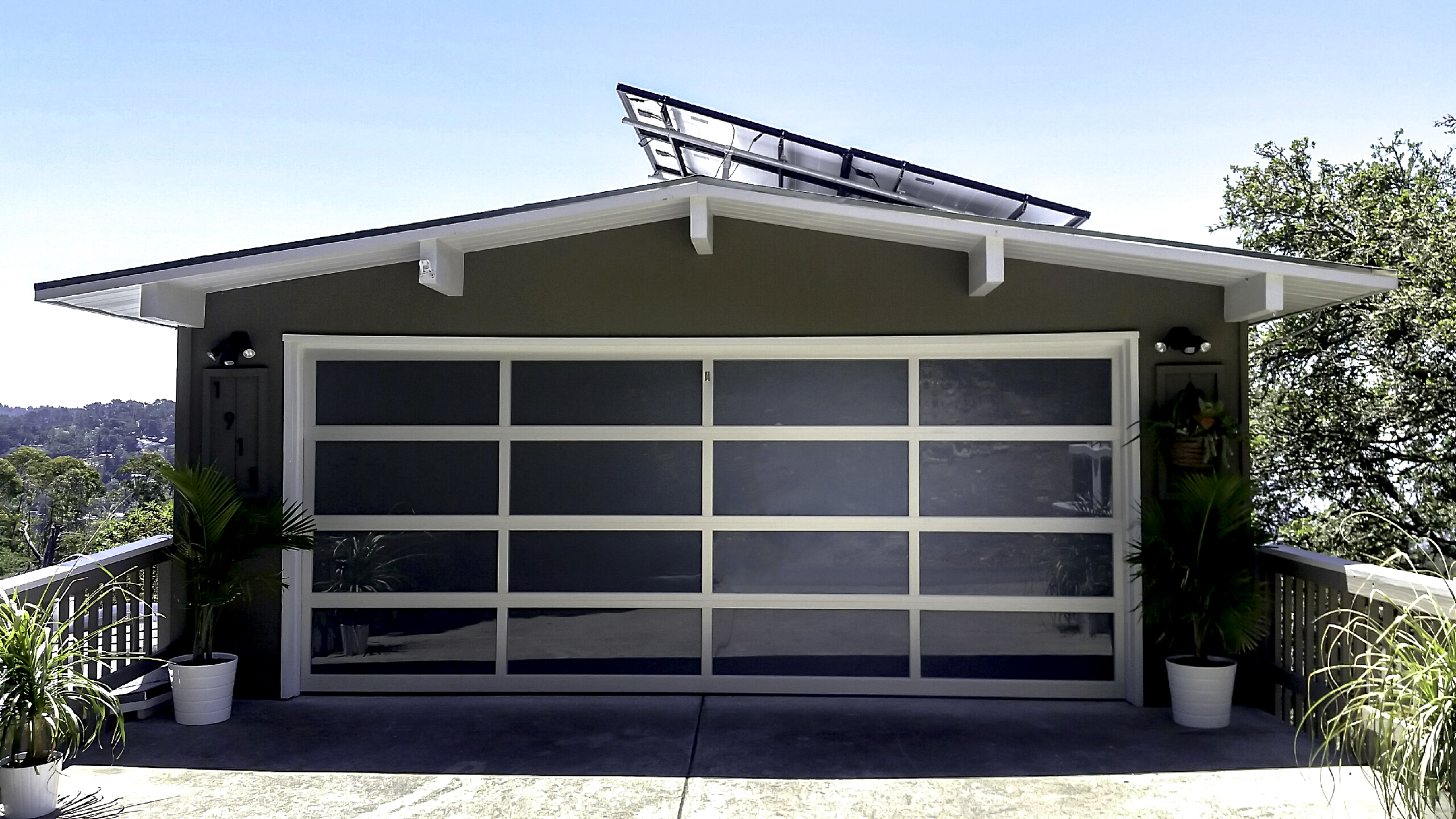 white east dark view door and panels full with bay modern rw tint garage doors windows glass